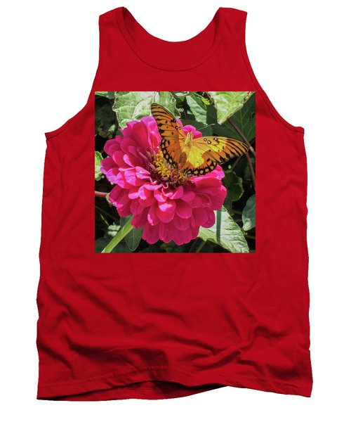 Butterfly On Pink Flower Tank Top by Mark Barclay