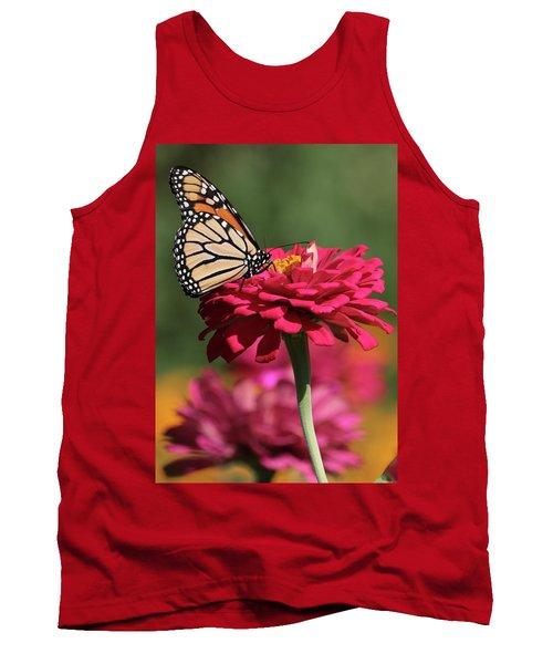 Butterfly On Zinnia Tank Top