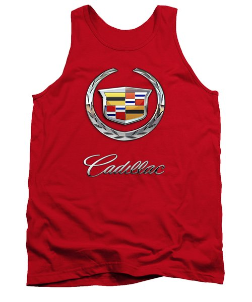 Cadillac - 3 D Badge On Red Tank Top by Serge Averbukh
