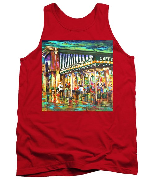 Cafe Du Monde Night Tank Top by Dianne Parks