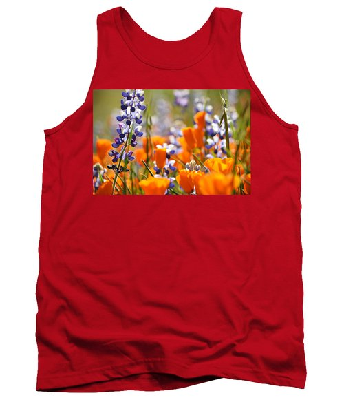 Tank Top featuring the photograph California Poppies And Lupine by Kyle Hanson