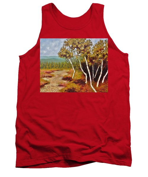 Tank Top featuring the painting Camel Top Birches by Jason Williamson