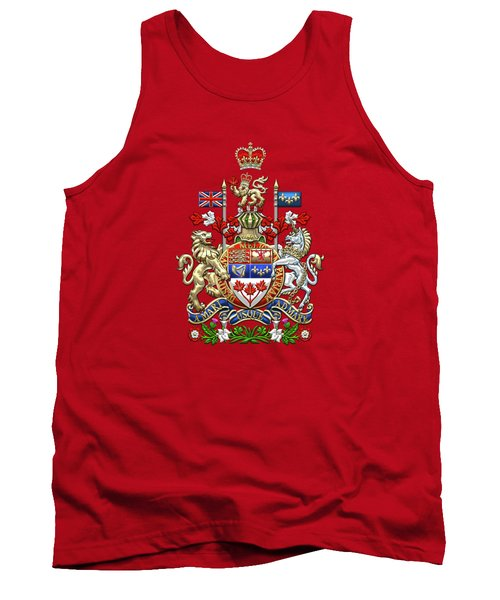 Canada Coat Of Arms Over Red Silk Tank Top