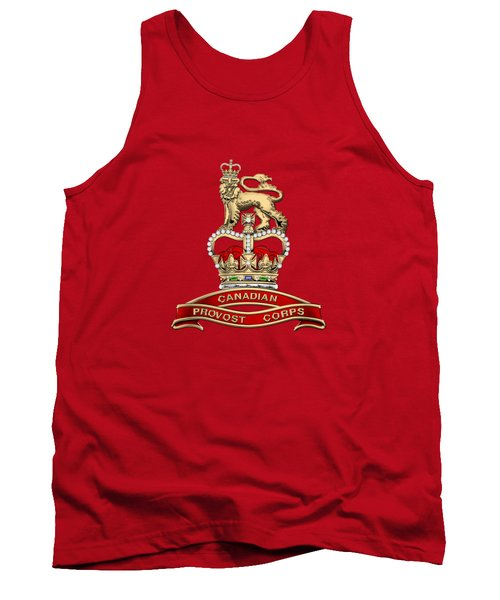 Canadian Provost Corps - C Pro C Badge Over Red Velvet Tank Top by Serge Averbukh