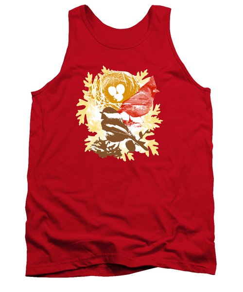 Cardinal Chickadee Birds Nest With Eggs Tank Top by Christina Rollo