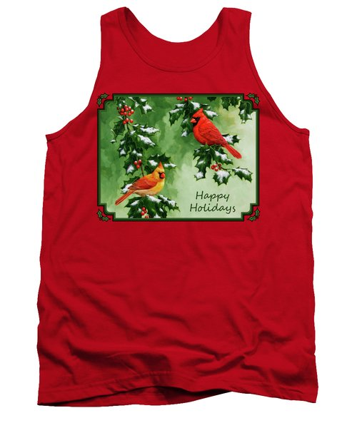 Cardinals Holiday Card - Version With Snow Tank Top