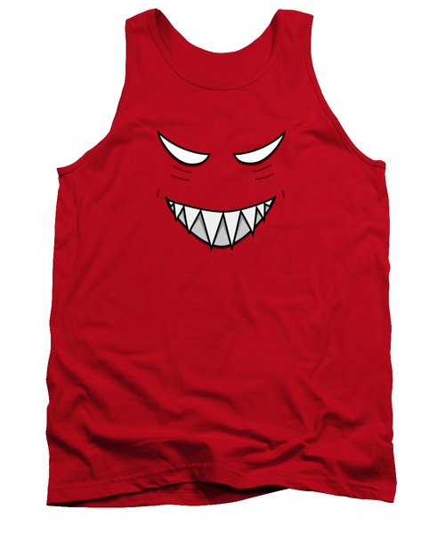 Cartoon Grinning Face With Evil Eyes Tank Top