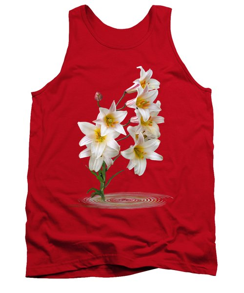 Cascade Of Lilies On Black Tank Top