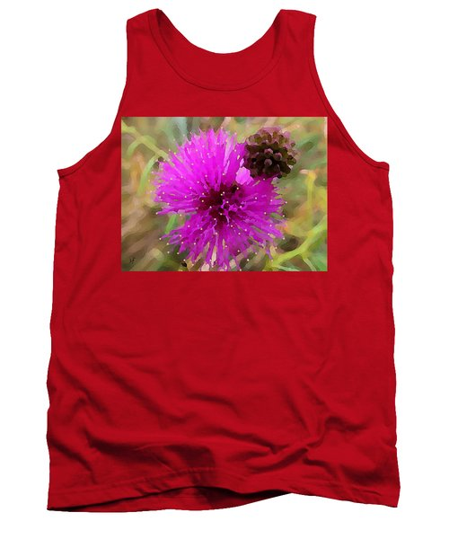 Tank Top featuring the digital art Catclaw Pink Mimosa  by Shelli Fitzpatrick