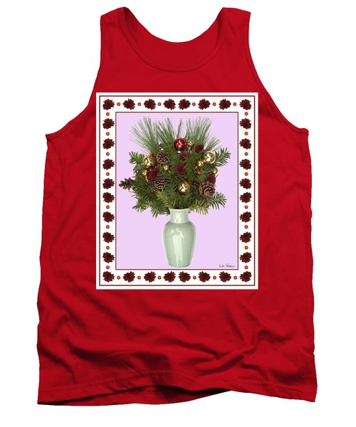 Tank Top featuring the digital art Celadon Vase With Christmas Bouquet by Lise Winne