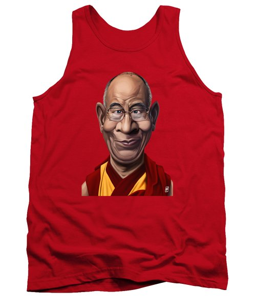 Tank Top featuring the drawing Celebrity Sunday - Dalai Lama by Rob Snow