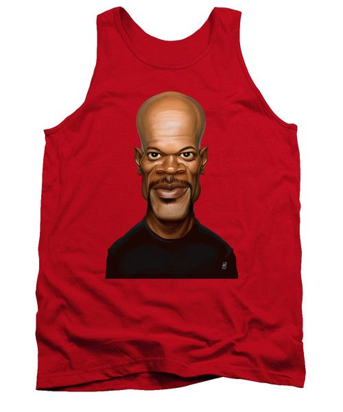 Tank Top featuring the drawing Celebrity Sunday - Samuel L Jackson by Rob Snow