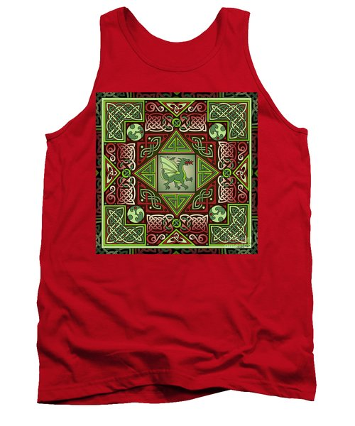 Tank Top featuring the mixed media Celtic Dragon Labyrinth by Kristen Fox