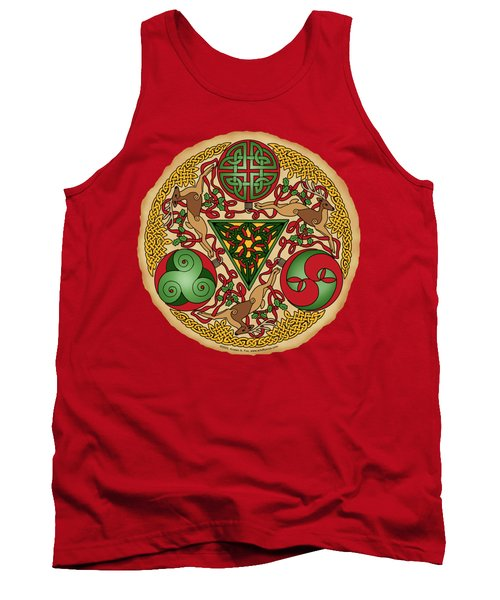 Tank Top featuring the mixed media Celtic Reindeer Shield by Kristen Fox
