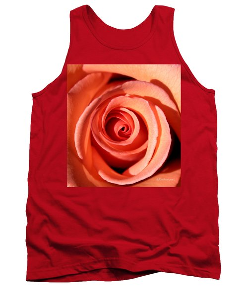 Tank Top featuring the photograph Center Of The Peach Rose by Barbara Chichester