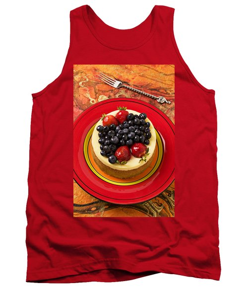 Cheesecake On Red Plate Tank Top by Garry Gay