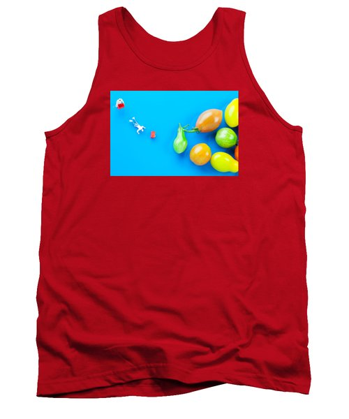 Tank Top featuring the painting Chef Tumbled In Front Of Colorful Tomatoes II Little People On Food by Paul Ge