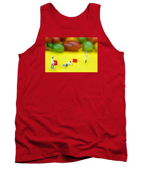 Tank Top featuring the painting Chef Tumbled In Front Of Colorful Tomatoes Little People On Food by Paul Ge