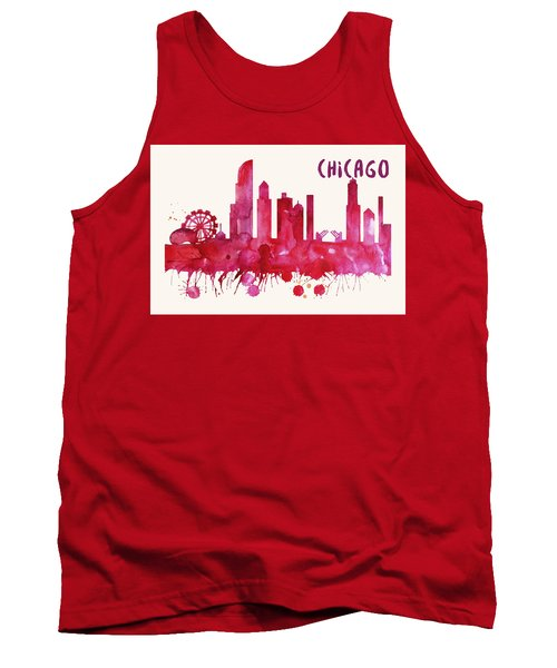 Chicago Skyline Watercolor Poster - Cityscape Painting Artwork Tank Top