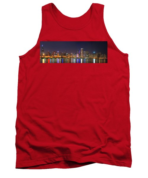 Chicago Skyline With Cubs World Series Lights Night, Chicago, Cook County, Illinois,  Tank Top