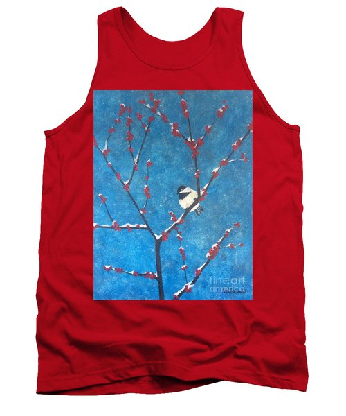Tank Top featuring the painting Chickadee Bird by Denise Tomasura