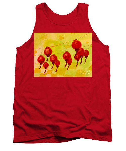 Tank Top featuring the painting Chinese Lanterns by Maria Langgle