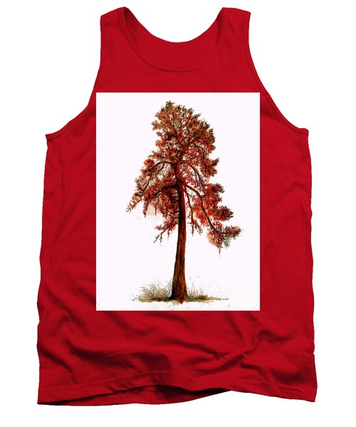 Tank Top featuring the drawing Chinese Pine Tree Drawing by Maja Sokolowska