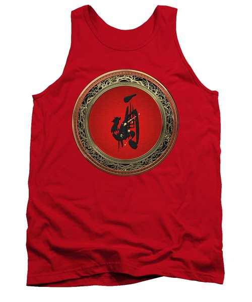 Chinese Zodiac - Year Of The Rooster On Red Velvet Tank Top
