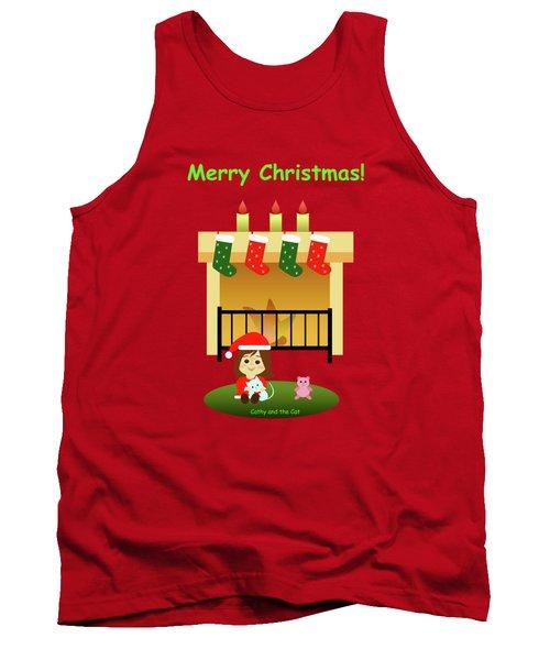 Christmas #4 And Text Tank Top