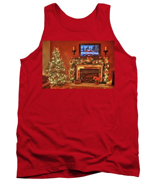 Tank Top featuring the painting Christmas Fire by Harry Warrick