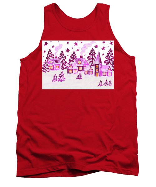 Christmas Picture In Pink Colours Tank Top