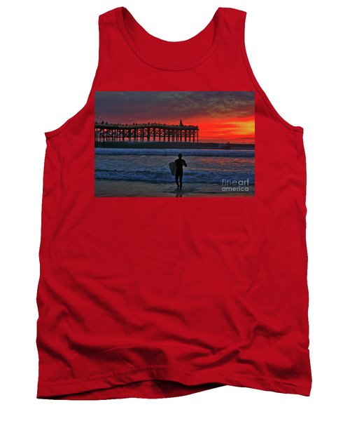 Christmas Surfer Sunset Tank Top
