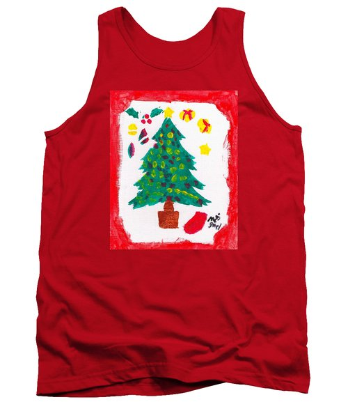 Tank Top featuring the painting Christmas Tree by Artists With Autism Inc