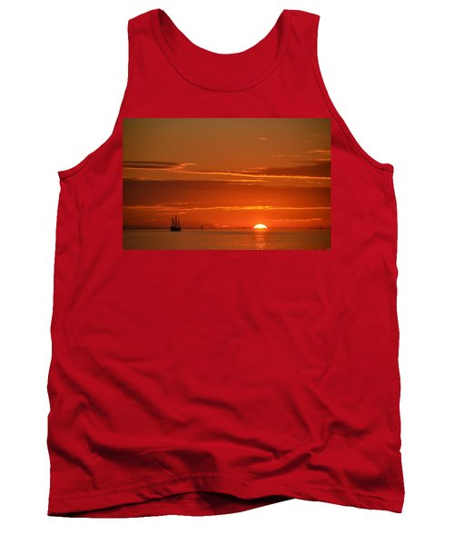 Christopher Columbus Replica Wooden Sailing Ship Nina Sails Off Into The Sunset Tank Top by Jeff at JSJ Photography