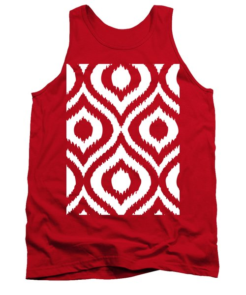 Circle And Oval Ikat In White T02-p0100 Tank Top