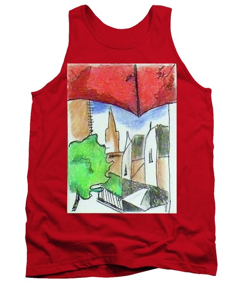 Tank Top featuring the drawing Cityscape 963 by Loretta Nash