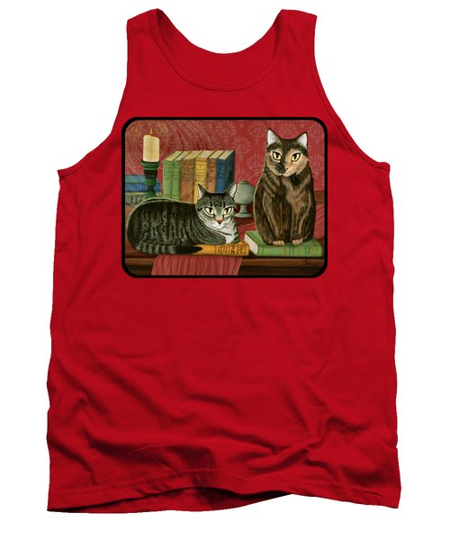 Tank Top featuring the painting Classic Literary Cats by Carrie Hawks