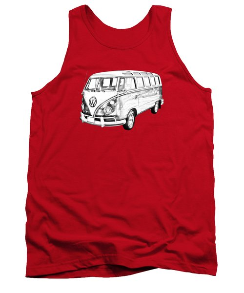 Classic Vw 21 Window Mini Bus Illustration Tank Top