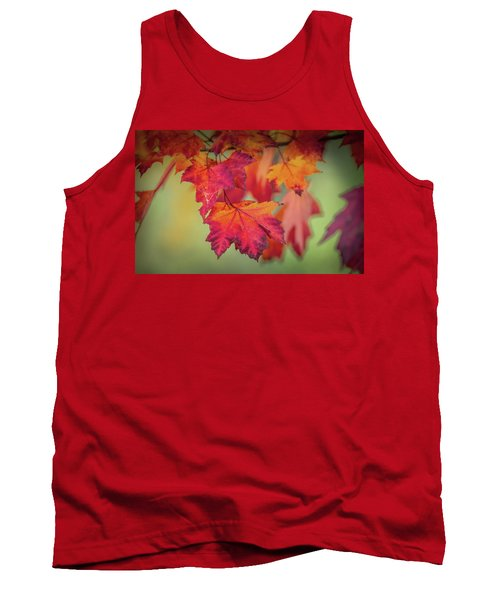 Close-up Of Red Maple Leaves In Autumn Tank Top