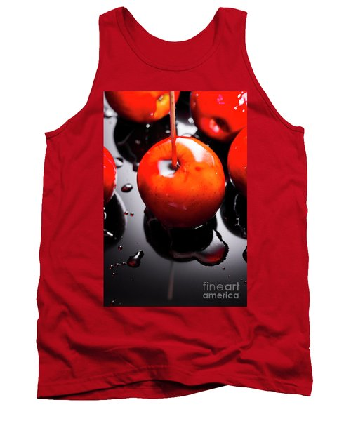 Closeup Of Red Candy Apple On Stick Tank Top