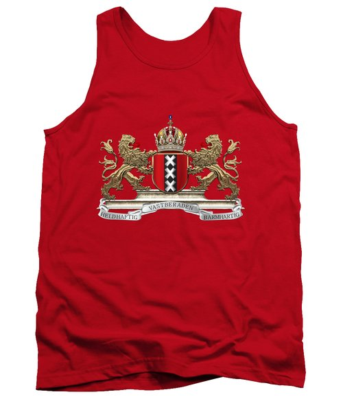 Coat Of Arms Of Amsterdam Over Red Velvet Tank Top
