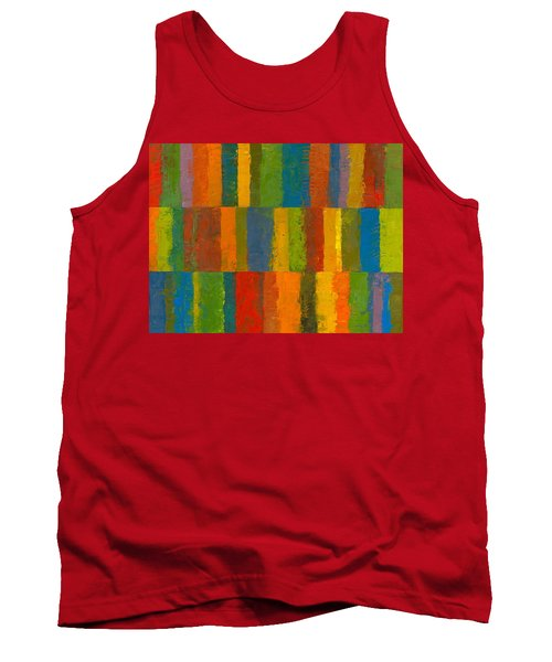 Tank Top featuring the painting Color Collage With Stripes by Michelle Calkins