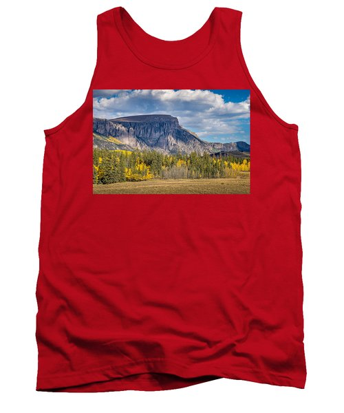 Colorado Fall Landscape With Aspen Trees Between Creede And Lake Tank Top by John Brink