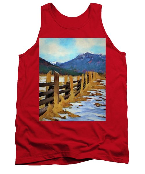 Tank Top featuring the painting Colorado Fence Line  by Jeff Kolker