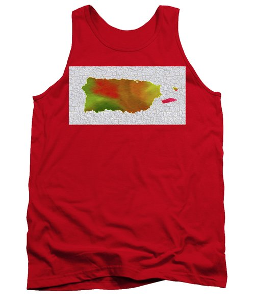Colorful Art Puerto Rico Map Tank Top by Saribelle Rodriguez