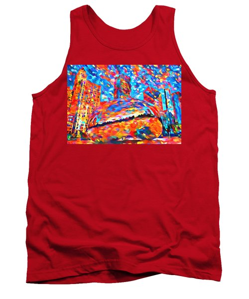 Tank Top featuring the painting Colorful Chicago Bean by Dan Sproul