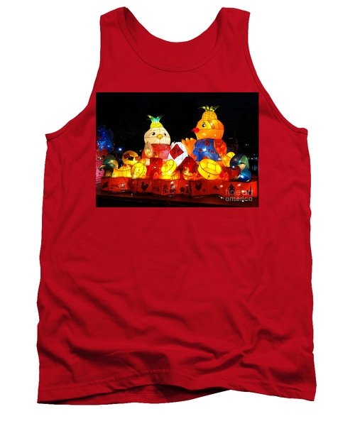 Tank Top featuring the photograph Colorful Chinese Lanterns In The Shape Of Chickens by Yali Shi