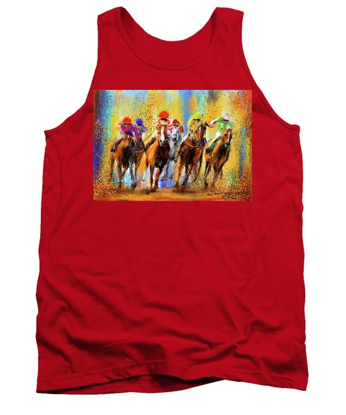 Colorful Horse Racing Impressionist Paintings Tank Top