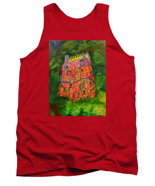 Tank Top featuring the painting Colorful Temple Gopuram by Brindha Naveen