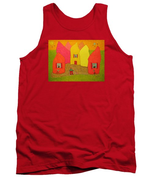 Cone-shaped Houses Man With Dog Tank Top